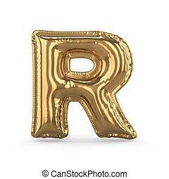 Golden letter R made of inflatable balloon isolated. 3D