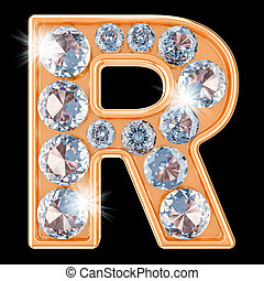 Golden letter R with diamonds. 3D rendering