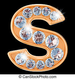 Golden letter S with diamonds. 3D rendering