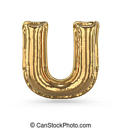 Golden letter U made of inflatable balloon isolated. 3D