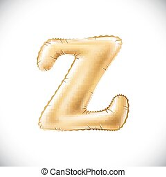 Golden letter Z made of inflatable balloon isolated on white background. One of full alphabet set