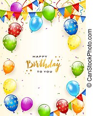 Golden Lettering Happy Birthday with Balloons and Pennants