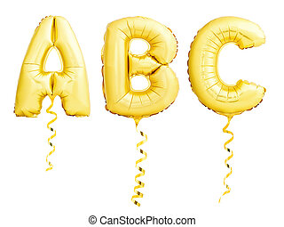 Golden letters ABC made of inflatable balloons with ribbons isolated on white
