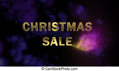 Golden letters 'Christmas Sale' and magical glittering...