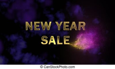 Golden letters 'New Year Big Sale' and magical glittering...