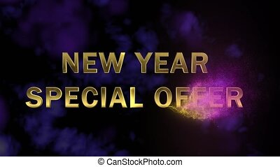 Golden letters 'New Year Special Offer' and magical...