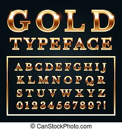 Golden letters with gold shine metal gradients. Shiny alphabet and numbers serif font for luxury lettering vector illustration