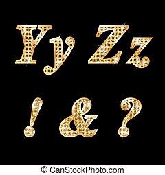 Golden letters Y, Z, !, ?, &