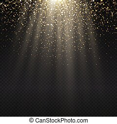 Golden light effect. Star burst light with golden sparkles....