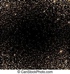 Golden light effect. Star burst light with golden sparkles. Bokeh defocused background. Vector illustration on transparent.