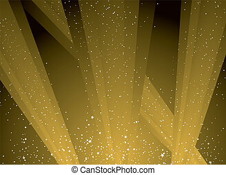 golden shafts of light shooting into the sky highlighting the stars