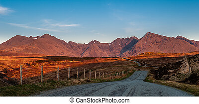 Golden light on The Cuillins