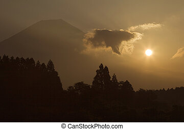 Sunrise with Mount Fuji and cloud