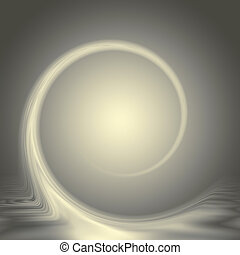 Gold and grey abstract design with a light central glow and curving wave.