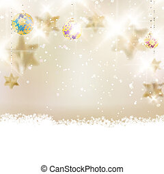 Golden Lights and Stars Christmas Background.