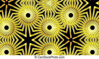 Golden lights kaleida background. Seamless loop