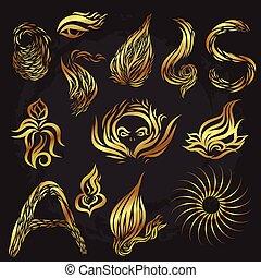 Golden line art doodle on black screen