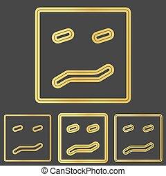 Golden line fear logo design set