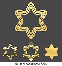 Golden line hexagram logo design set - Golden line hexagram...