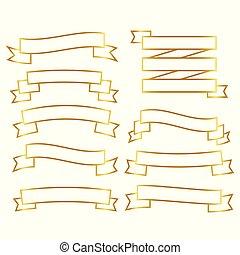 golden line ribbons banner set