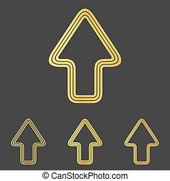 Golden line upwards logo design set