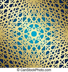 golden lines on blue background - vector grid