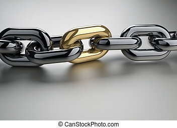 Golden link - Chain with a shiny golden link - 3d render