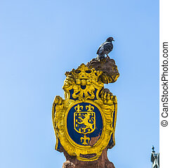 Golden lion at the parliament in Wiesbaden - Golden lion at...