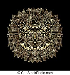 Golden Lion head. Tribal pattern. Image of a lion head on a black background. Can be used for logo, tattoo, horoscopes, T-shirt graphic, etc.