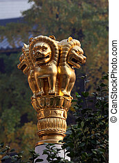 Golden lion statue at buddhist temple in Shanghai, China