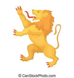 Clip Art Vector of golden lion - vector illustration of ...