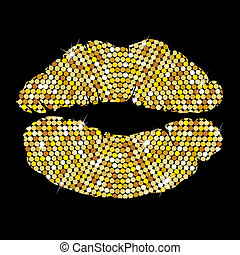 Golden lips on black background