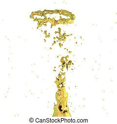 golden liquid splash whirl isolated on white background