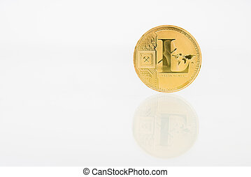 Golden Litecoin coin with reflection on the table, online digital currency. Concept of block chain, market uprise