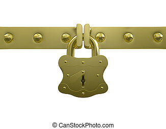 Golden lock and bolts - Golden metal lock isolated on white...