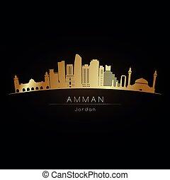 Golden logo Amman city skyline. Vector silhouette...