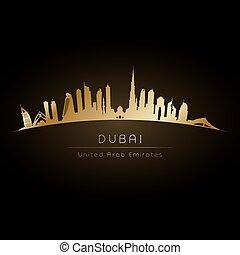 Golden logo Dubai UAE city skyline