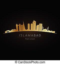 Golden logo Islamabad skyline. Vector silhouette...