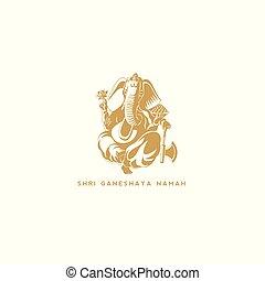 Golden Lord Ganesh vector illustration
