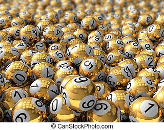 golden lottery balls.