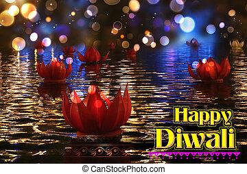 Golden lotus shaped diya floating on river in Diwali...