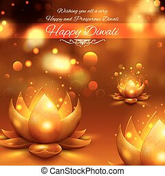 Golden lotus shaped diya on abstract Diwali background -...
