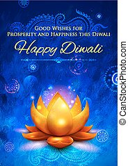 Golden lotus shaped diya on abstract Diwali background -...