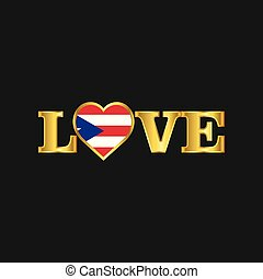 Golden Love typography Puerto Rico flag design vector