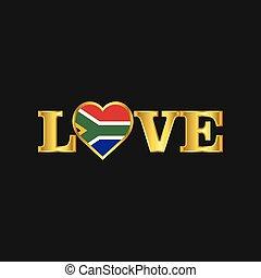 Golden Love typography South Africa flag design vector