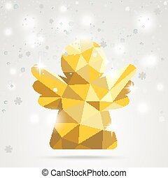 Golden Low Poly Angel Snowflakes Bokeh
