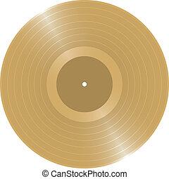 Golden LP - Blank Golden LP vinyl record vector illustration...