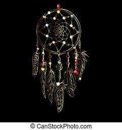 Golden luxary ornate Dreamcatcher with feathers, gemstones. Astrology, spirituality, magic symbol. Ethnic tribal element.