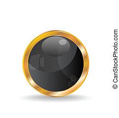 Golden luxury ball isolated on white background