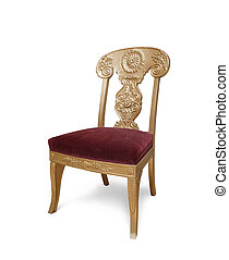 Golden luxury chair, Isolated